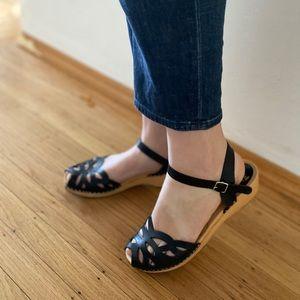 Swedish Hasbeens Toffel Sandals in Black